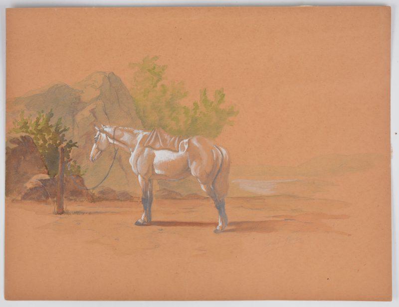 """""""Paard"""". Potlood en aquarel op papier. Gesigneerd 'E. verboeckhoven'."""