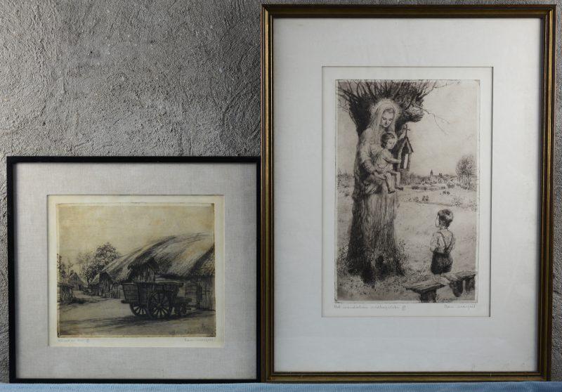"""""""Schuur en kar"""" & """"Het wonderbare veldkapelleke"""". Twee etsen. Beide gesigneerd en resp. genummerd 27/100 & 37/50 buiten de plaat."""