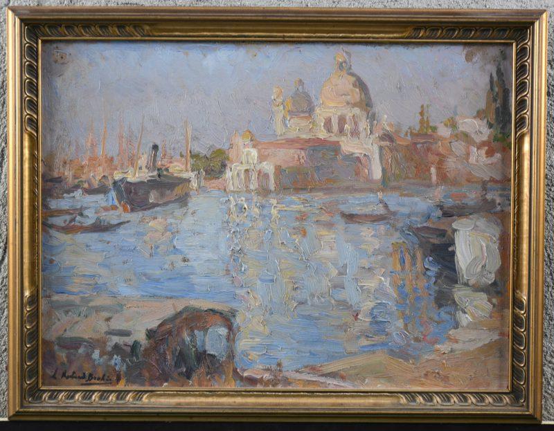 """""""Zicht op Venetië"""". Olieverf op board. Gesigneerd links onderaan."""