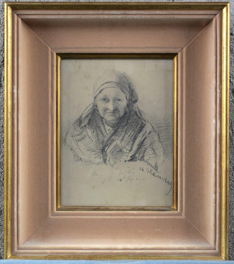 """""""Portret van een oude dame"""". Een potloodtekening op papier. Gesigneerd en gedateerd 1849."""