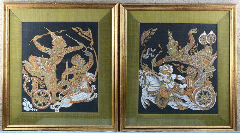 Twee Thais Boeddhistische schilderijen op zijde.