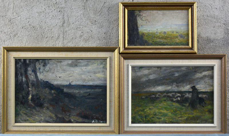 """""""Landschap""""; """"Herder met kudde"""" (X2). Drie olieverfschilderijtjes op paneel. Allen gesigneerd."""