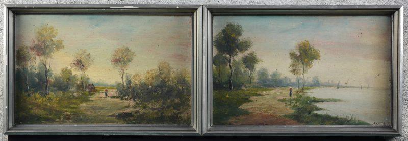 Een paar landschappen, olieverf op paneel. Beide gesigneerd.
