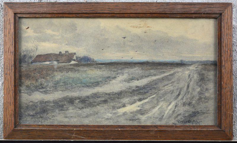 """""""Polderlandschap"""". Houtskool en pastel op papier. Gesigneerd en gedateerd 1919."""