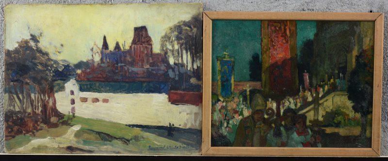"""""""Kerkzicht"""" & """"Processie"""". Twee olieverfschilderijtjes, resp. op board en op paneel. Het eerste gesigneerd."""