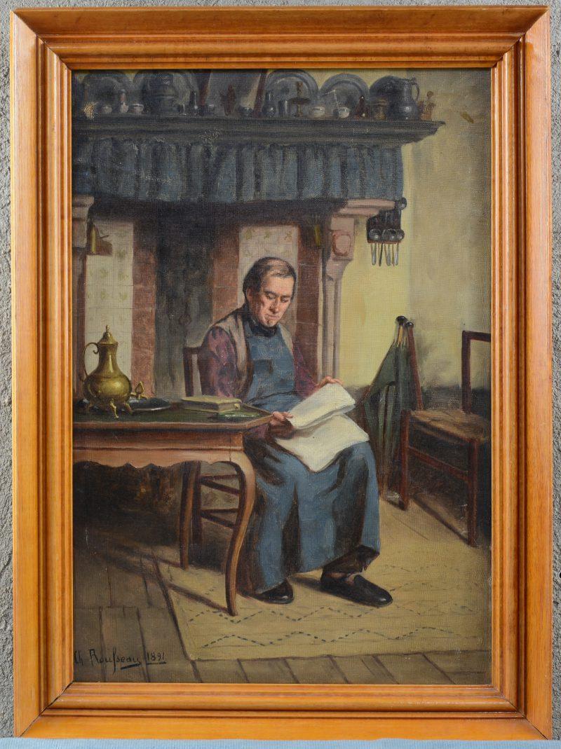 """""""De lezer"""". Olieverf op doek. Gesigneerd en gedateerd 1891."""