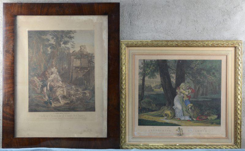"""""""L'agréable leçon"""" & """"Innocence et amour"""". Twee XIXe eeuwse kleurengravures."""