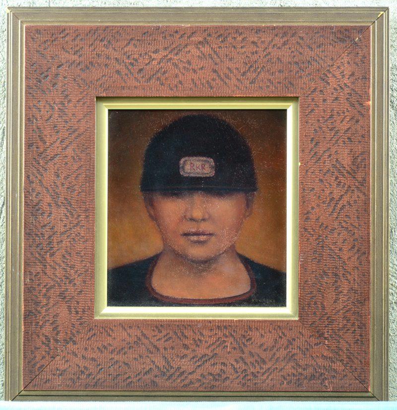 """""""Portret"""". Olieverf op paneel. Gesigneerd en op de verso gedateerd 2004."""