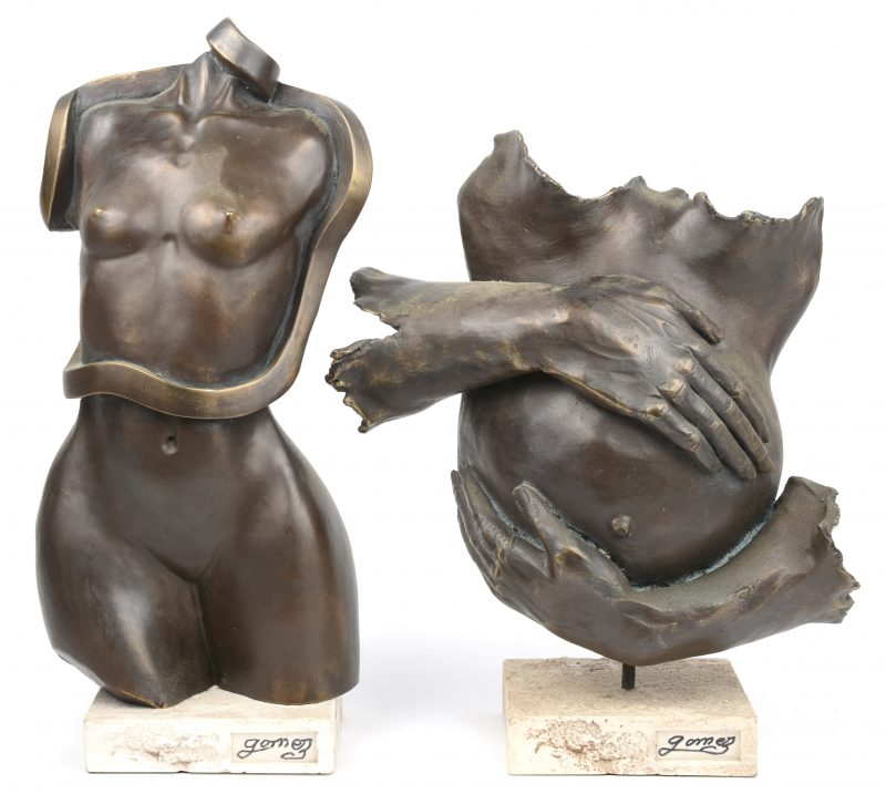 """""""Vrouwentorso"""" & """"zwangerschap"""". Twee kunstwerkjes van kunstwerk. Achteraan met stempel."""