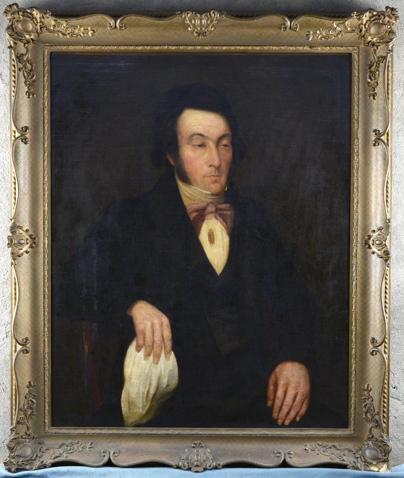 """""""Herenportret"""". Olieverf op doek. XIXe eeuw. Zonder signatuur. Schade aan de kader."""