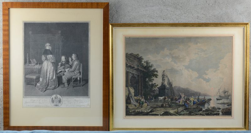 """""""Instruction Paternelle"""" & Havenzicht"""". Een laat XVIIIe en een XIXe eeuwse gravure."""