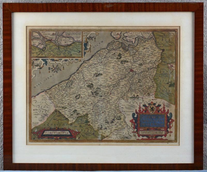 """""""Flandria comitatus descriptio"""". Een met de hand ingekleurde kaart. 1592 - 1598."""