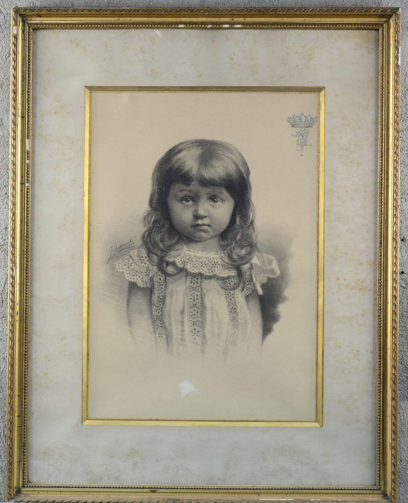 """""""Meisjesportret"""". Houtskoo op papier. Gesigneerd en gedateerd 1890."""