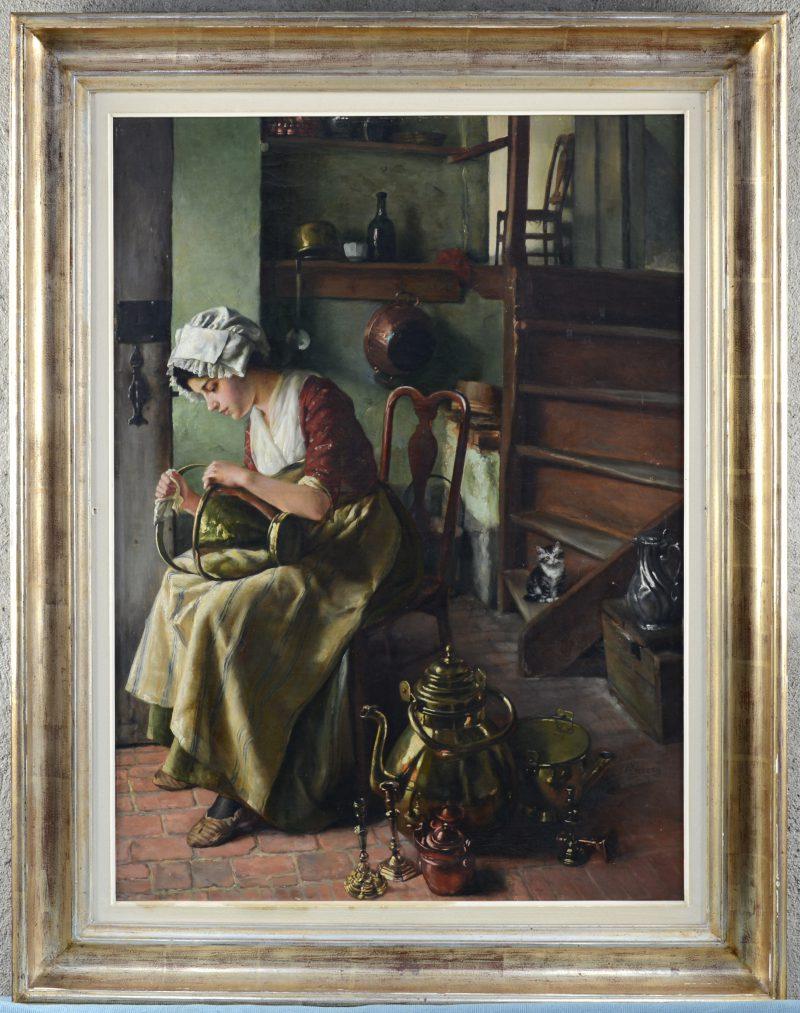"""""""De koperpoetster"""". Olieverf op paneel. Gesigneerd en gedateerd 1906."""