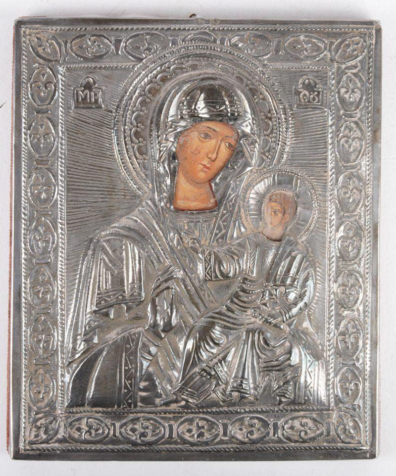 """""""Moeder Gods van Tikhvin"""". Een kleine icoon met zilveren riza. 925/1000."""