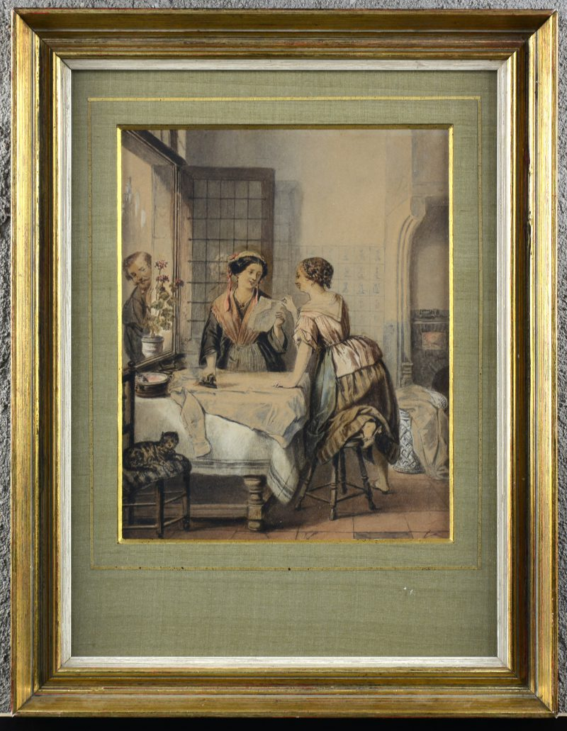 """""""De liefdesbrief"""". Een ingekleurde potloodtekening. Periode Napoleon III."""
