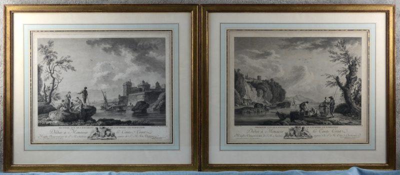 """""""Première et seconde vue des environs de Caudebec en Normandie"""" Een paar XVIIIe eeuwse Parijse gravures door Gouaz naar werken van Hackert."""