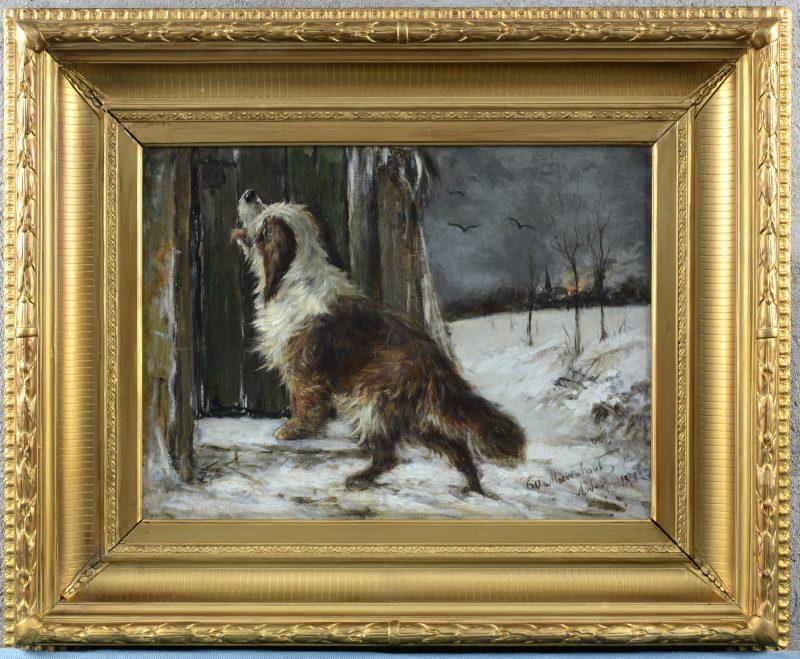 """""""Hond in de sneeuw"""". Olieverf op doek. Gesigneerd en gedateerd 1873. Herdoekt."""