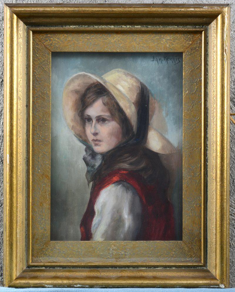 """""""Portret van een jonge vrouw met hoed"""". Olieverf op doek. Gesigneerd."""
