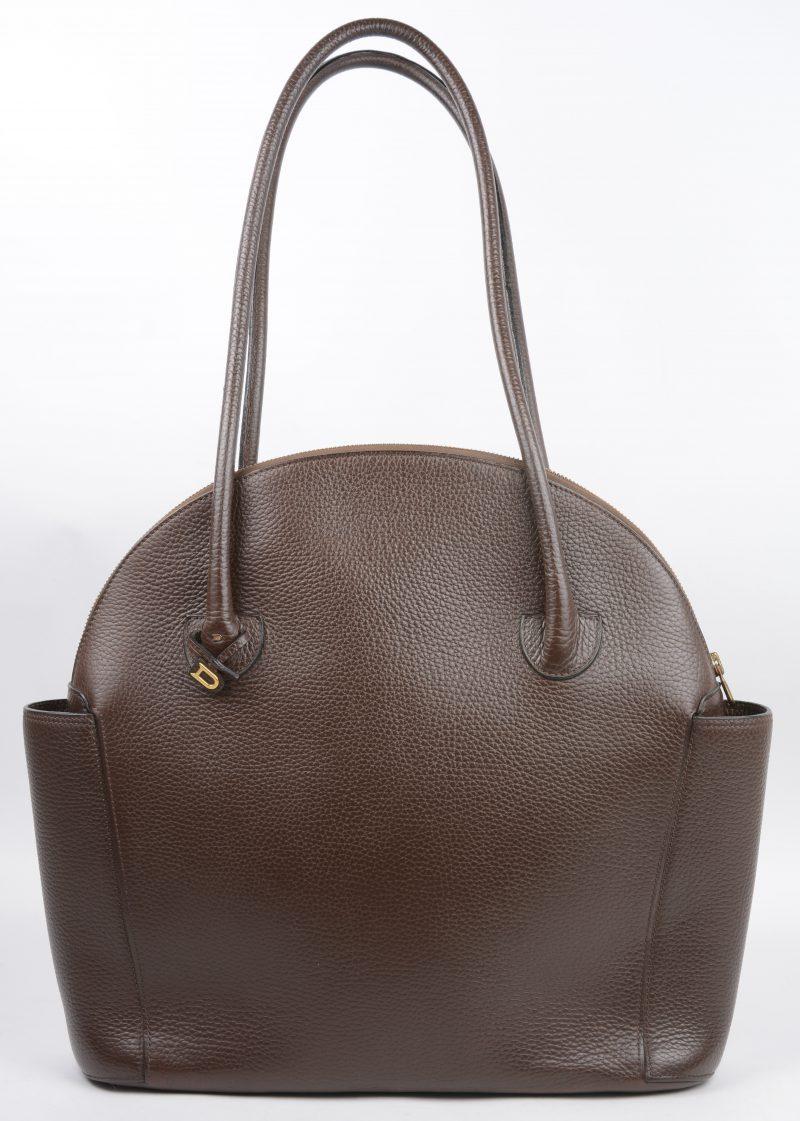 """Mousson"". Handtas in donkerbruin leder, groot model."