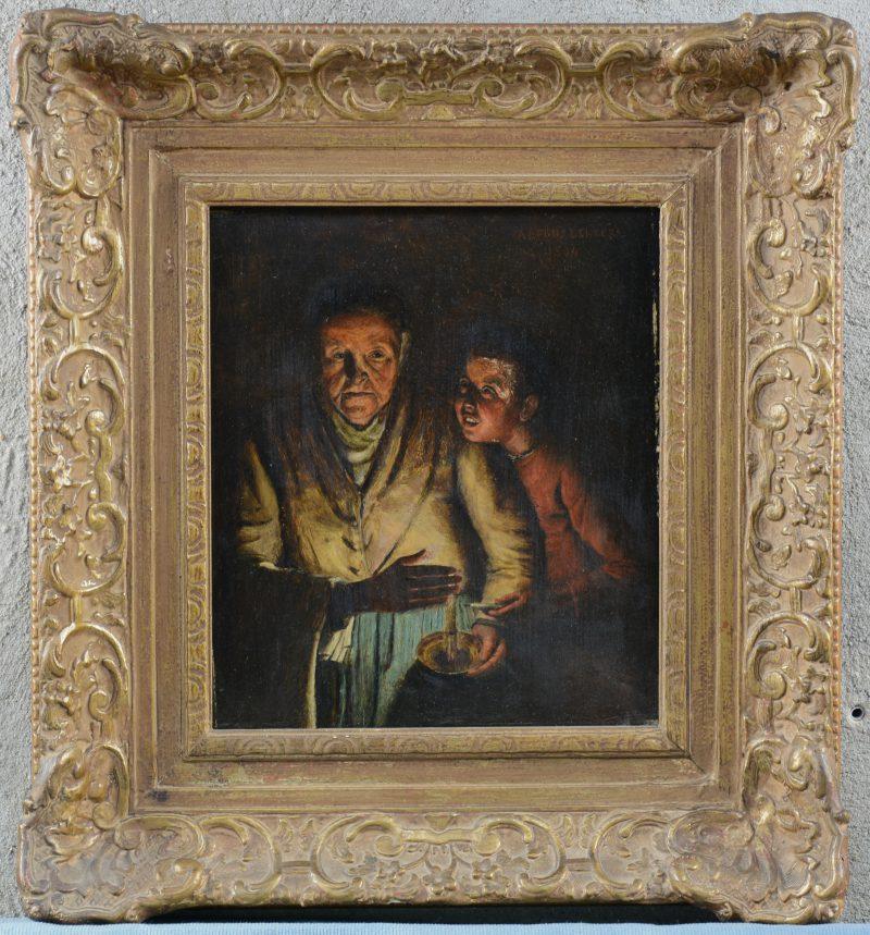 """""""Oude vrouw en jongeling bij kaarslicht."""" Olieverf op paneel, gedateerd 1894. Gesigneerd."""