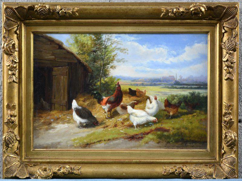 """""""Kippen nabij het hok."""" Olieverf op doek. Gesigneerd."""