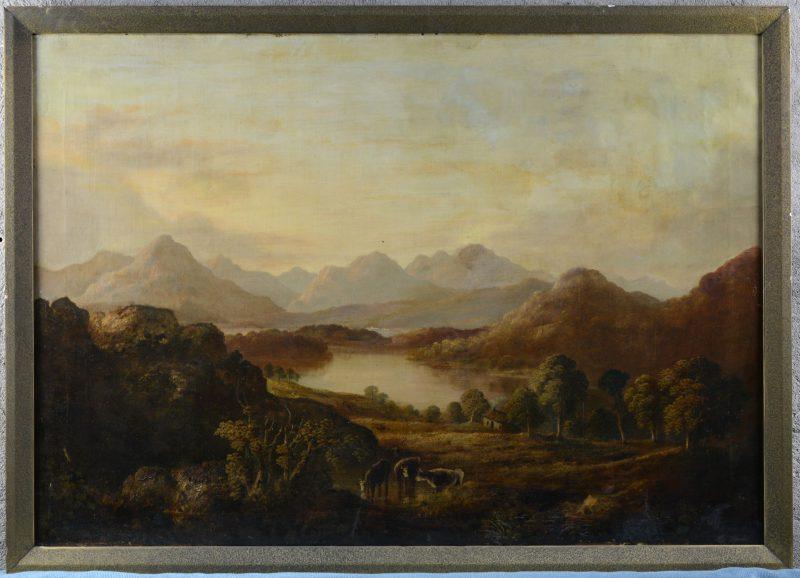 """""""Romantisch landschap met vee"""". Olieverf op doek. Enkele restauraties. XIXe eeuw."""