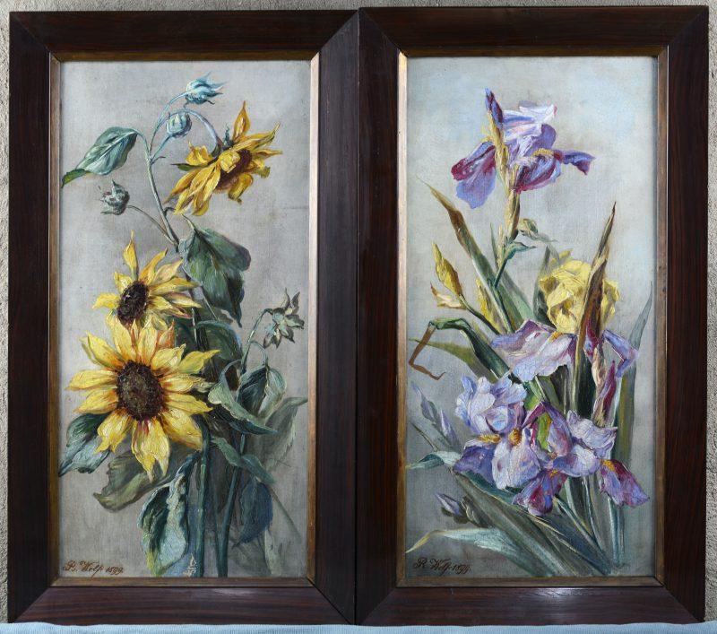 """""""Zonnebloemen"""" & """"Lissen"""". Een paar schilderijen, olieverf op doek. Beide gesigneerd en gedateerd 1899."""