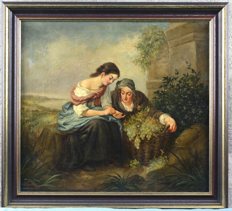 """""""De druivenverkoopster"""". Olieverf doek. XIXe eeuw. Op te frissen."""