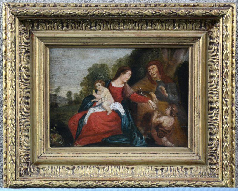"""""""Voorstelling met de Heilige Maagd met Jezus"""". Olieverf op paneel. XVIIe eeuw."""
