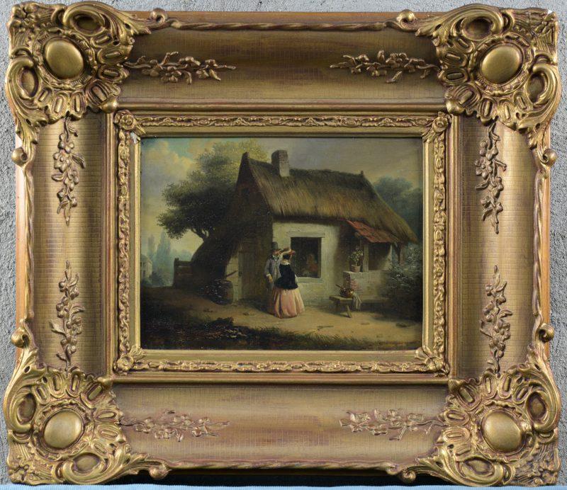 """""""De conversatie bij het raam"""". Olieverf op paneel. XIXe eeuw. Vernis te vervangen."""