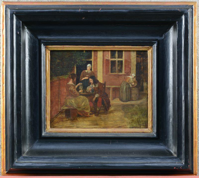 """""""Terrasscène"""". Olieverf op paneel. XIXe eeuw."""