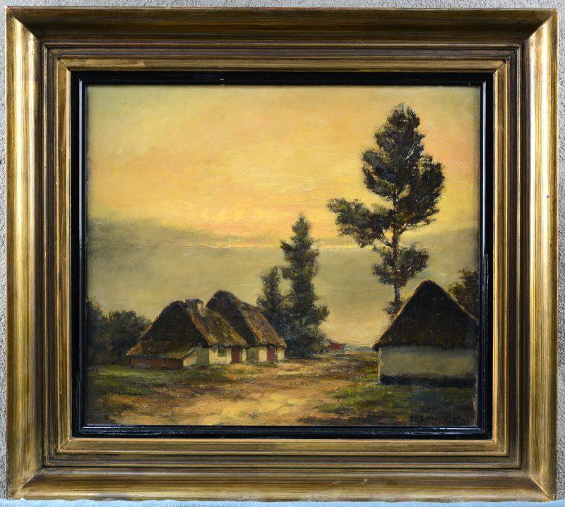 """""""Kempisch landschap met hoeve"""". Olieverf op doek. Gesigneerd."""