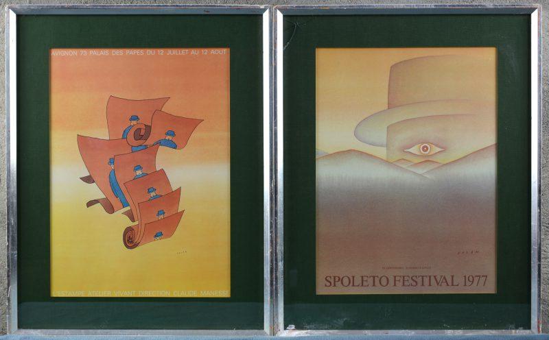 Twee tentoonstellingsaffiches naar ontwerp van Folon.