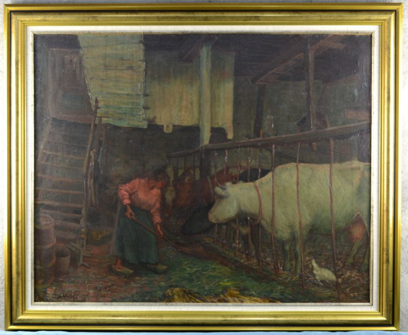 """Boerin in de koeienstal"". Olieverf op doek. Gesigneerd."