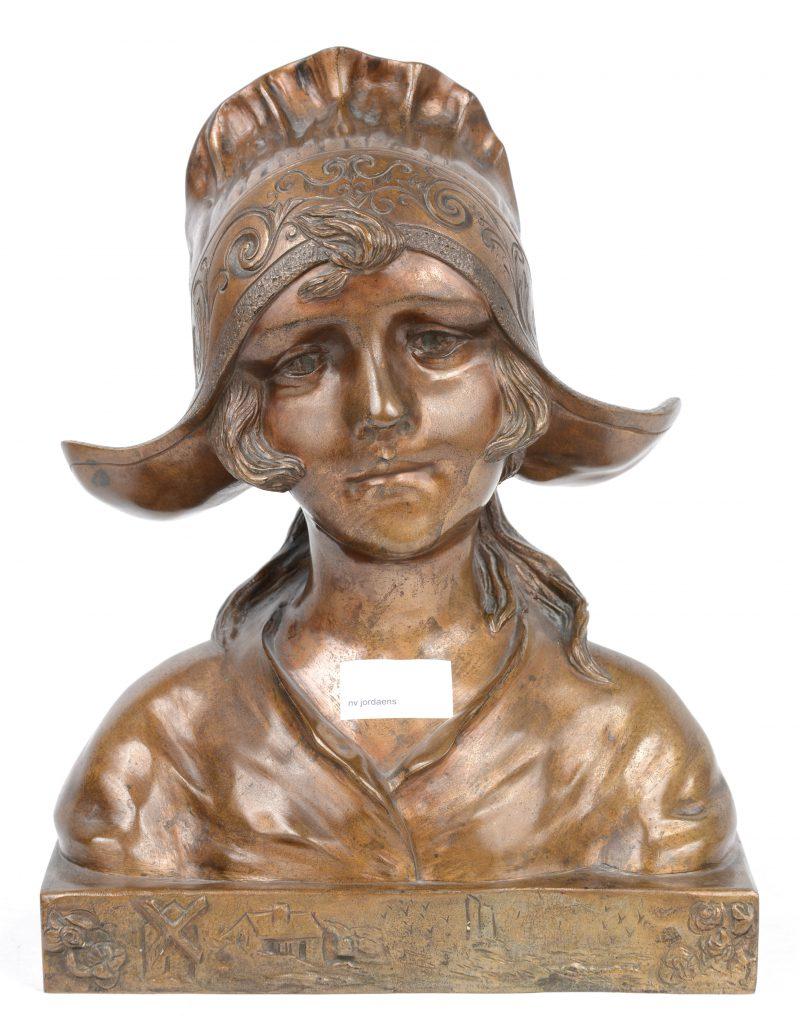 """""""Hollands meisje"""". Een bronzen buste. Tijdperk art nouveau."""