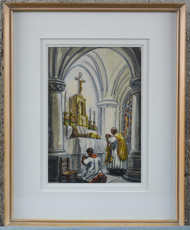 """""""De Heilige mis"""". Een met aquarel gehoogde pentekening. Gemonogrameerd."""