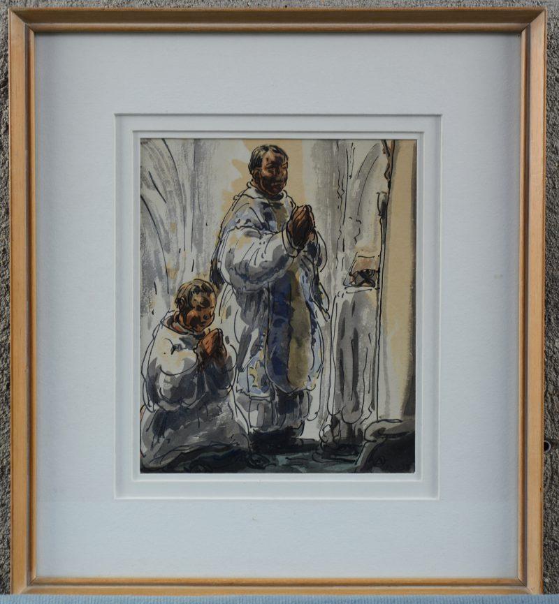 """""""Priester en misdienaar"""". Een met aquarel gehoogde pentekening. Gemonogrameerd."""