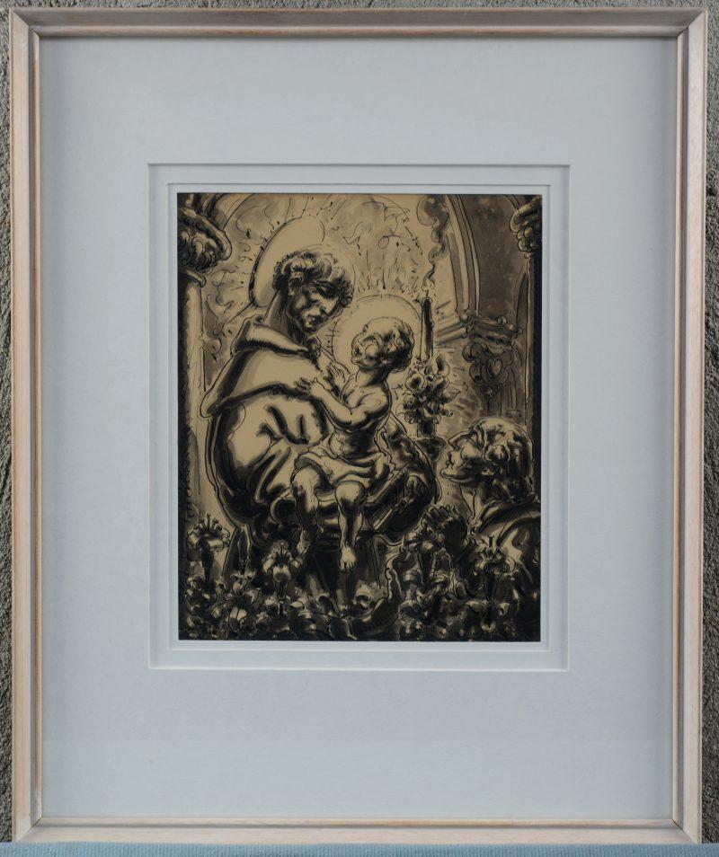 """""""St Antonius"""". Een pentekening. Gesigneerd."""