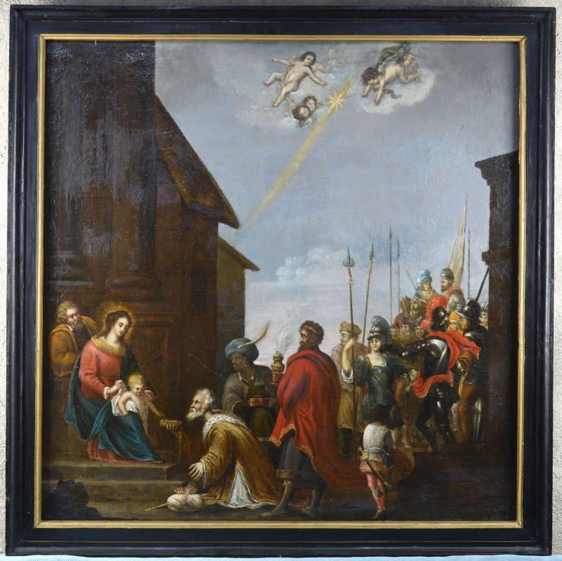 """""""De aanbidding der koningen"""". Olieverf op doek. Vlaamse school, eind XVIIe eeuw."""