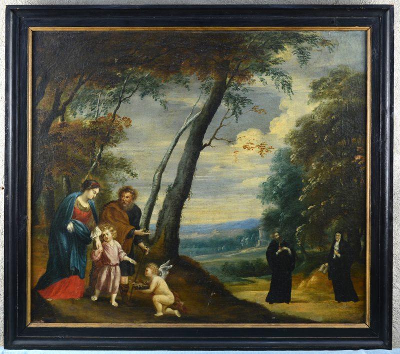 """""""Boomrijk landschap met links de Heilige Familie met een engel die de passie-instrumenten draagt en rechts de Heilige Augustinus en zijn moeder, de Heilige Monica."""" Olieverf op doek. Vlaamse school, eind XVIIe eeuw."""