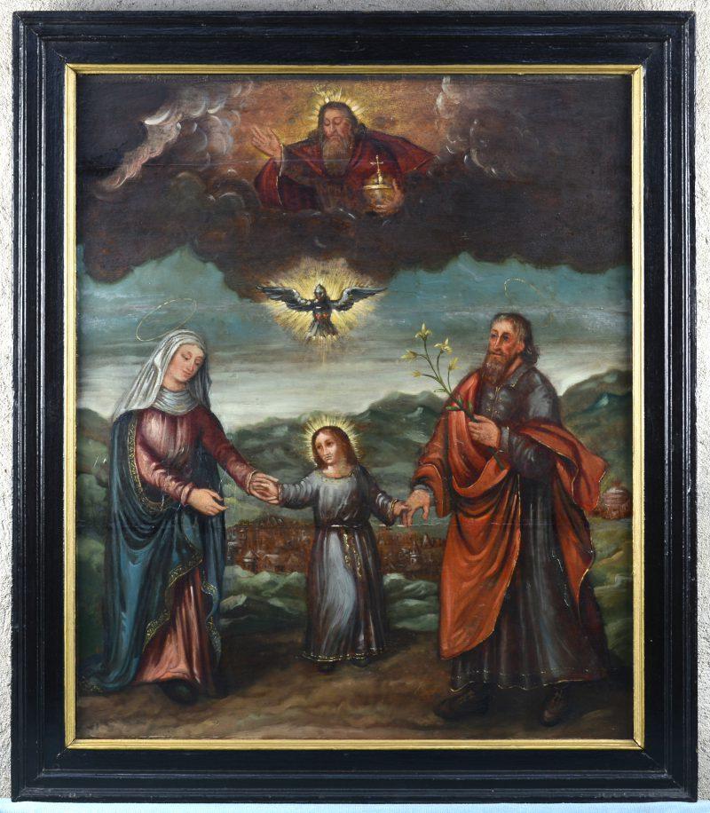 """""""De wandelende Heilige Familie met in de lucht God de Vader en de Heilige Geest en de stad Jeruzalem in de achtergrond"""". Olieverf op paneel. Vlaamse school, XVIIe eeuw."""