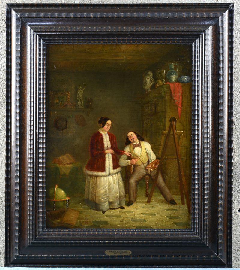 """""""De schilder in zijn atelier"""". Olieverf op mahoniehouten paneel. Gesigneerd en gedateerd 1852 (?)."""