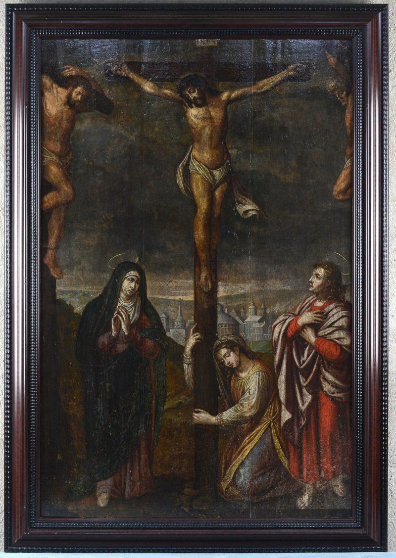"""""""De bewening van Christus aan het kruis"""". Olieverf op paneel. Vlaamse school, omstreeks 1600."""
