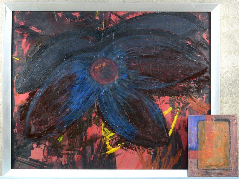"""""""Expressionistische bloem"""". Olieverf op paneel & """"Abstracte vlakkencompositie"""". Olieverf op doek."""