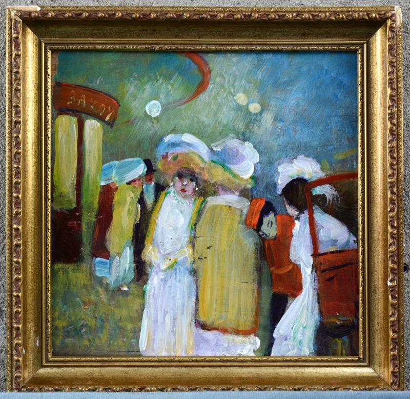 """""""Uitgangsbuurt te Parijs"""". Oleievrf op paneel. Naar het impressionisme."""