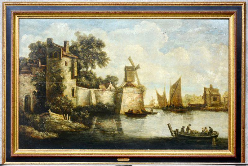 """""""Waterlandschap met personages in een boot"""". Olieverf op paneel. Gerestaureerd. Toegeschreven aan Thomas Heeremans (1641-1694)."""